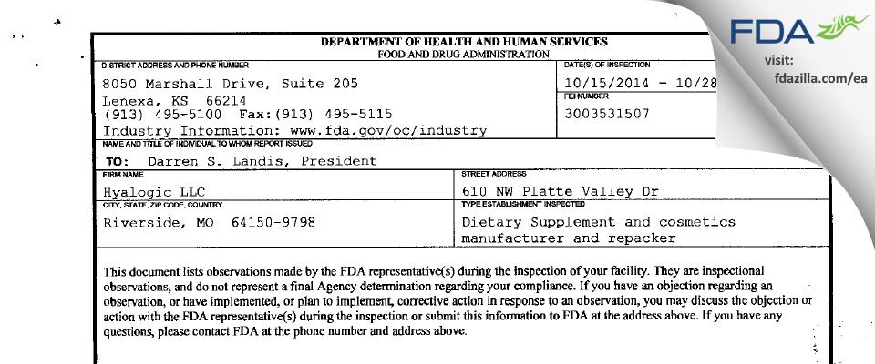Hyalogic FDA inspection 483 Oct 2014