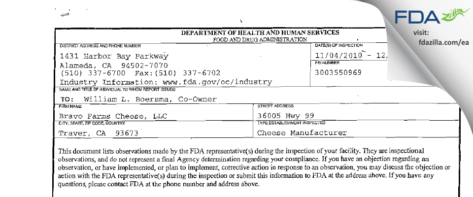 Vintage Cheese Company FDA inspection 483 Dec 2010