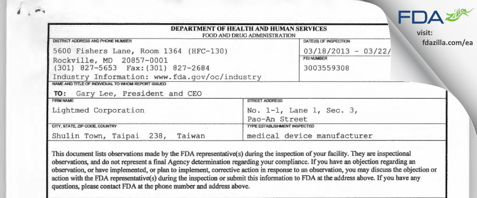Lightmed FDA inspection 483 Mar 2013