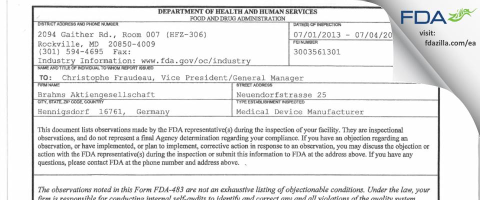 Brahms FDA inspection 483 Jul 2013