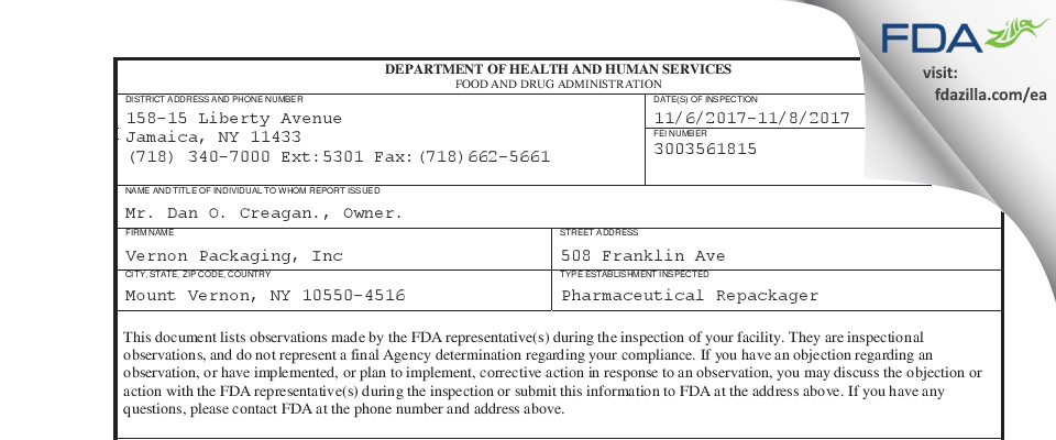 Vernon Packaging FDA inspection 483 Nov 2017