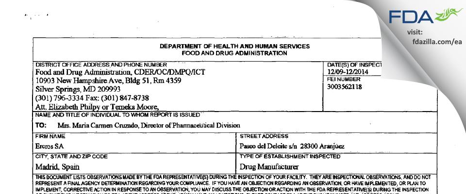 Ercros FDA inspection 483 Dec 2014
