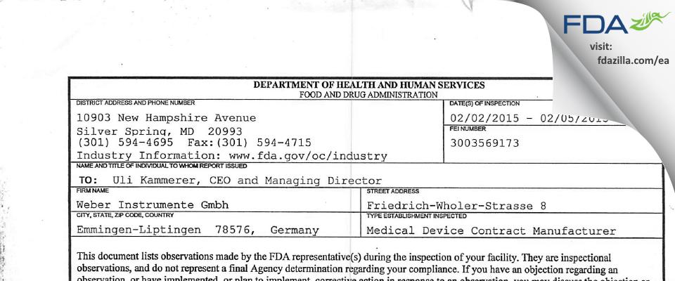Weber Instrumente Gmbh FDA inspection 483 Feb 2015