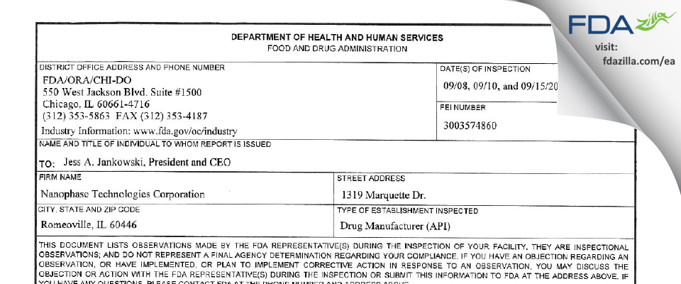 Nanophase Technologies FDA inspection 483 Sep 2014