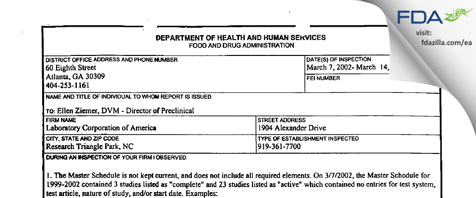 Laboratory of America FDA inspection 483 Mar 2002