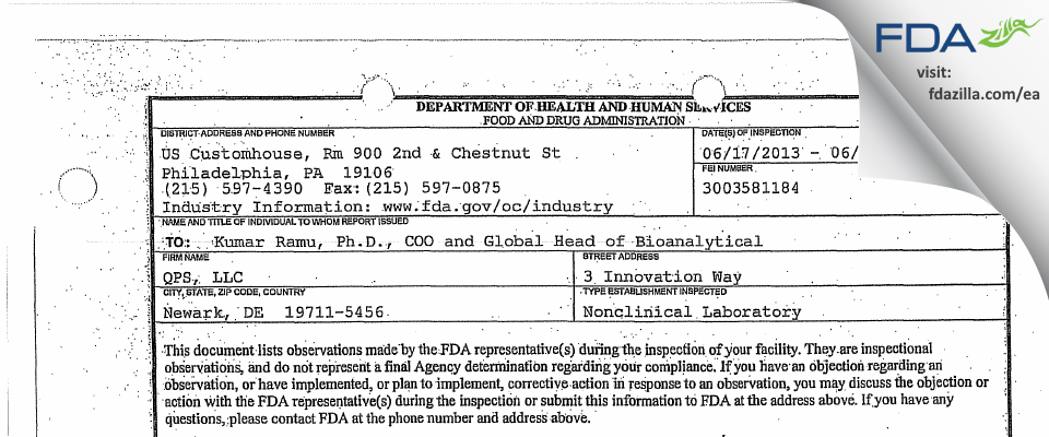 QPS FDA inspection 483 Jun 2013
