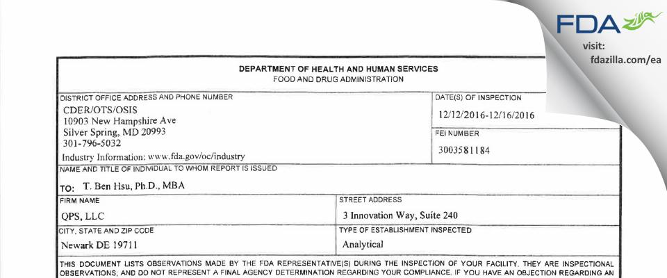 QPS FDA inspection 483 Dec 2016
