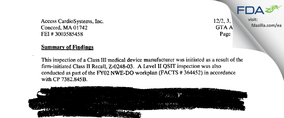 Access CardioSystems FDA inspection 483 Dec 2002