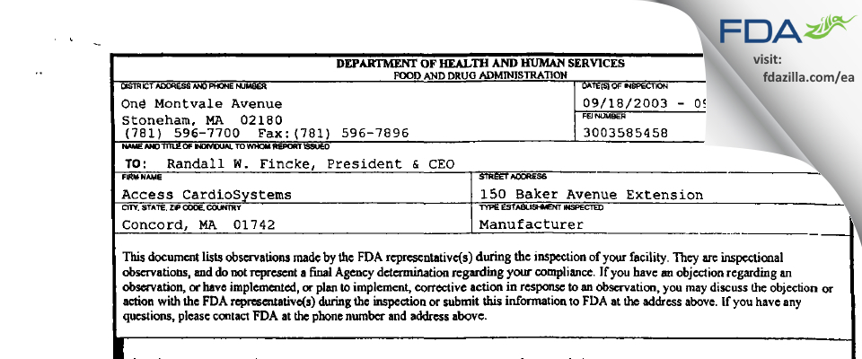 Access CardioSystems FDA inspection 483 Sep 2003