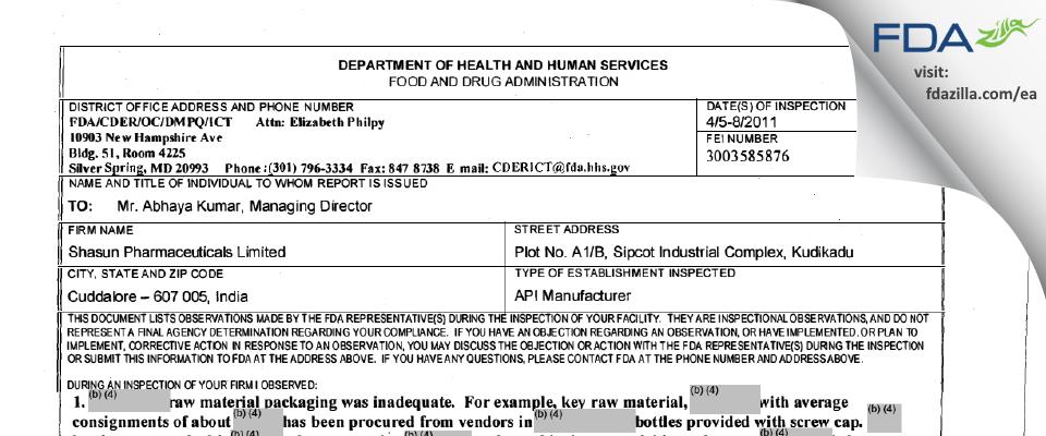 Solara Active Pharma Sciences FDA inspection 483 Apr 2011