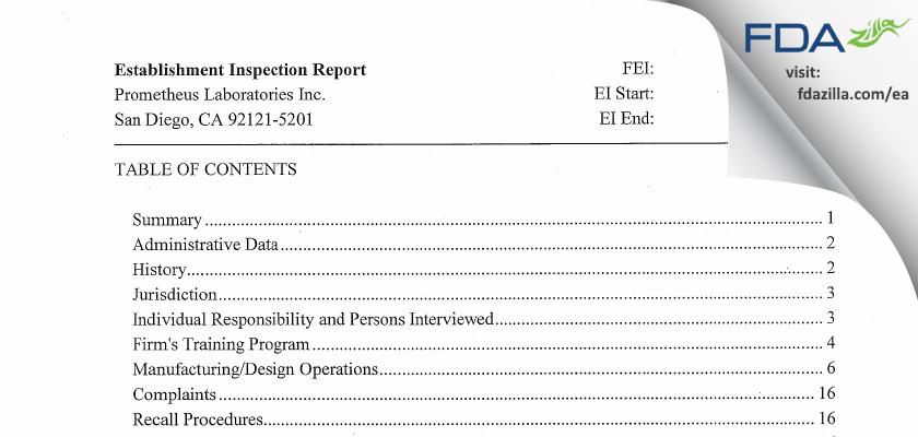 Prometheus Labs FDA inspection 483 Mar 2016