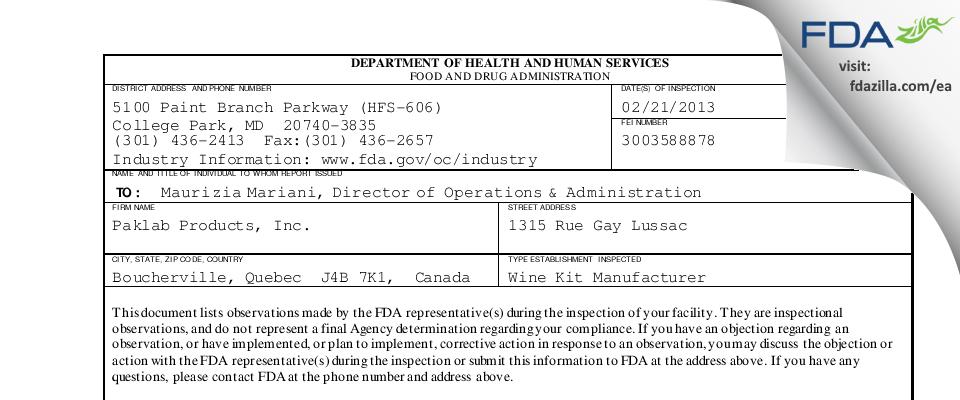 Paklab Products FDA inspection 483 Feb 2013