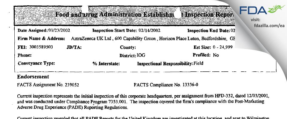AstraZeneca UK FDA inspection 483 Feb 2002
