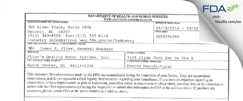 Flier's Quality Water Systems FDA inspection 483 Sep 2014