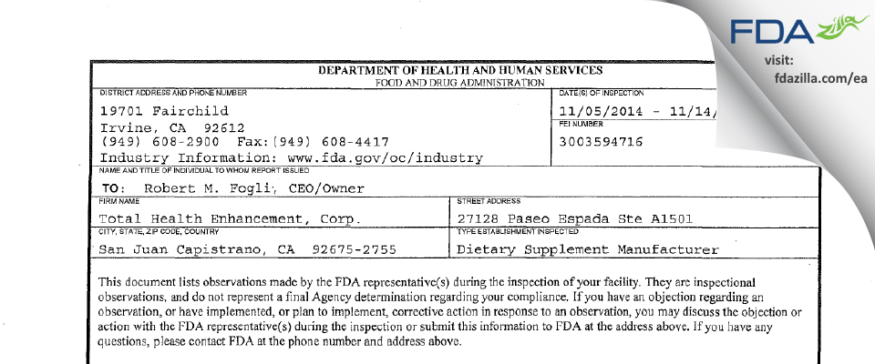 Total Health Enhancement, FDA inspection 483 Nov 2014