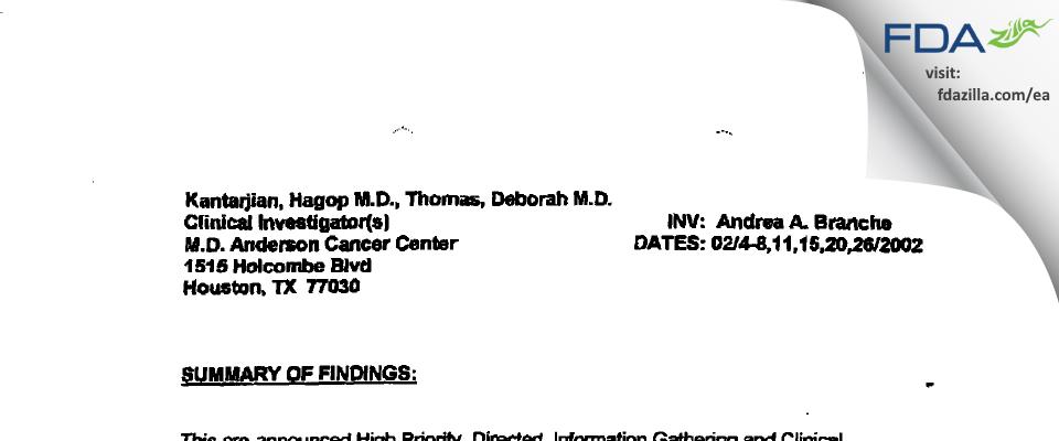 Hagop M. Kantarjian, M.D. FDA inspection 483 Feb 2002