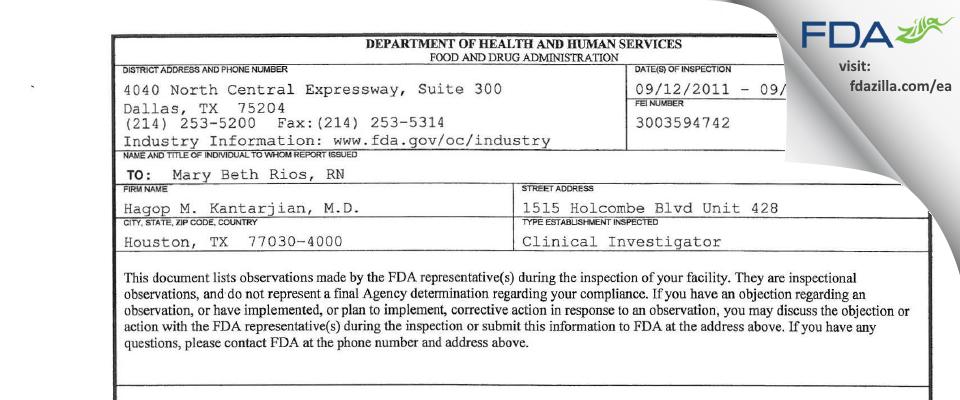 Hagop M. Kantarjian, M.D. FDA inspection 483 Sep 2011