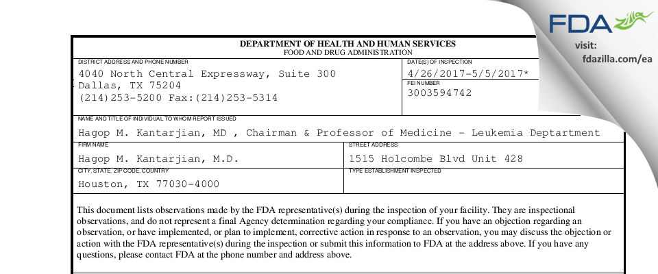 Hagop M. Kantarjian, M.D. FDA inspection 483 May 2017
