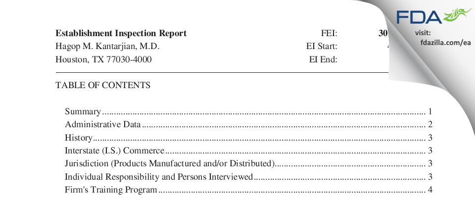 Hagop M. Kantarjian, M.D. FDA inspection 483 May 2017