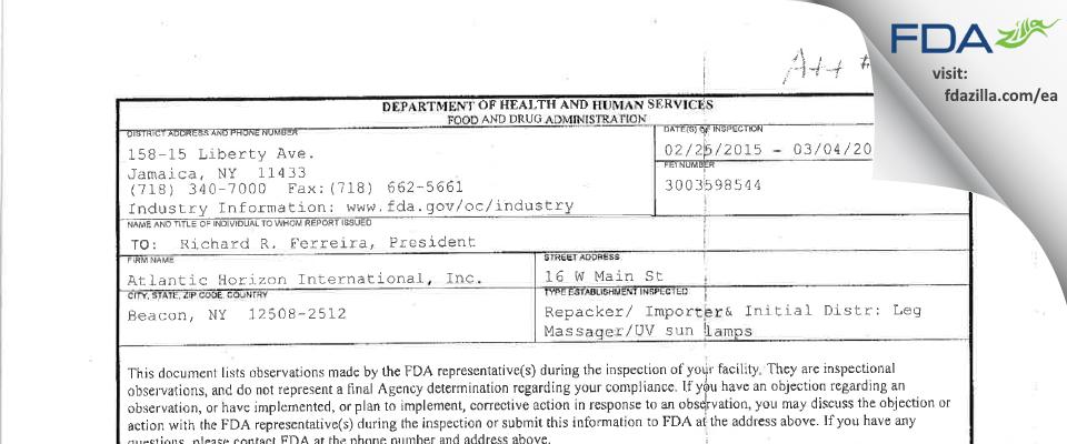 Atlantic Horizon International FDA inspection 483 Mar 2015