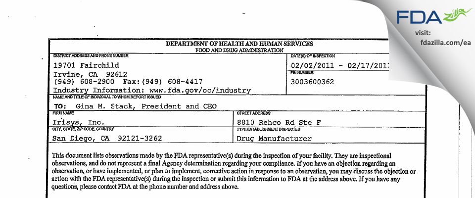 Irisys FDA inspection 483 Feb 2011