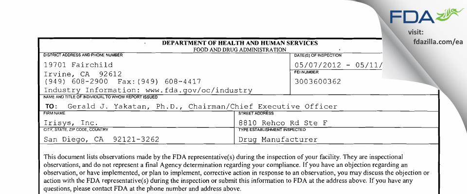 Irisys FDA inspection 483 May 2012