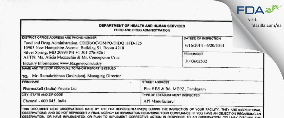 Pharmazell (India) Private FDA inspection 483 Jun 2014