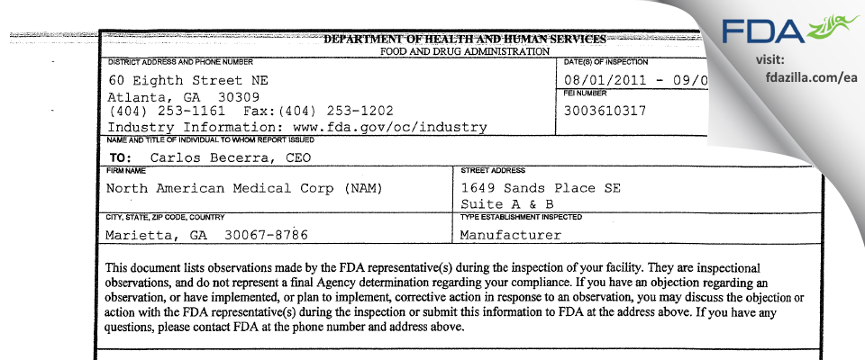 North American Medical (NAM) FDA inspection 483 Sep 2011