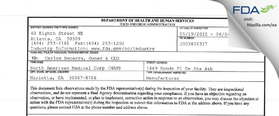North American Medical (NAM) FDA inspection 483 Jun 2015