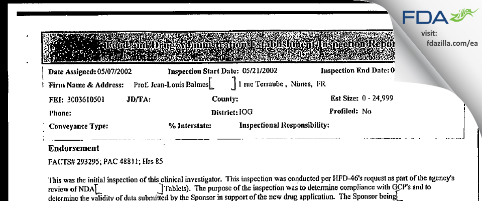 Prof. Jean-Louis Balmes (Paille) FDA inspection 483 May 2002