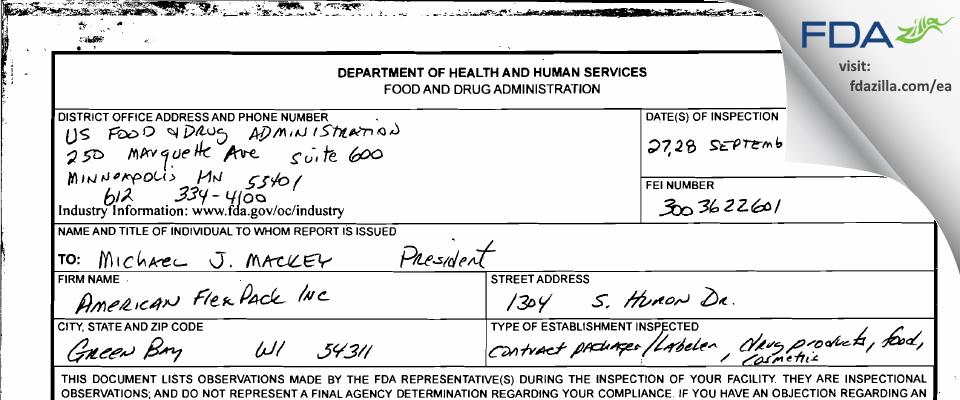 American Flexpack FDA inspection 483 Sep 2011