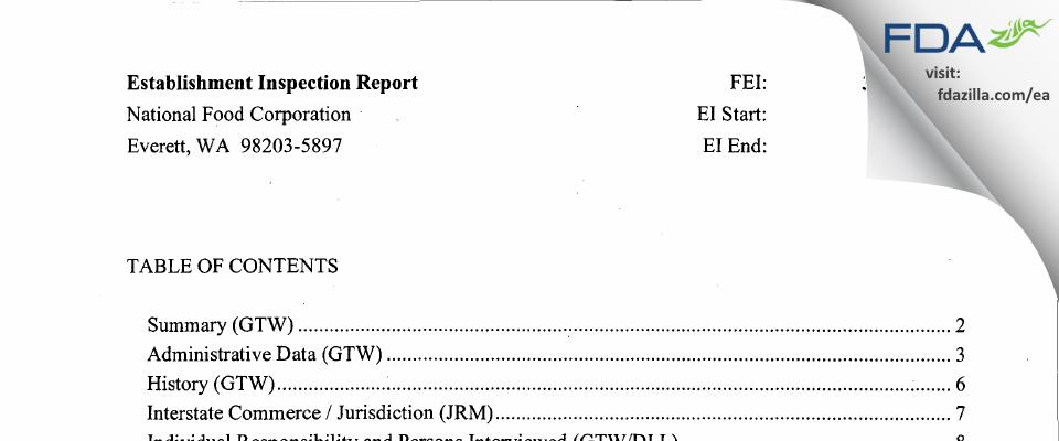 National Food FDA inspection 483 Dec 2010