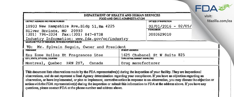 Eau Zone Huiles Et Fragrances Ltee FDA inspection 483 Feb 2016