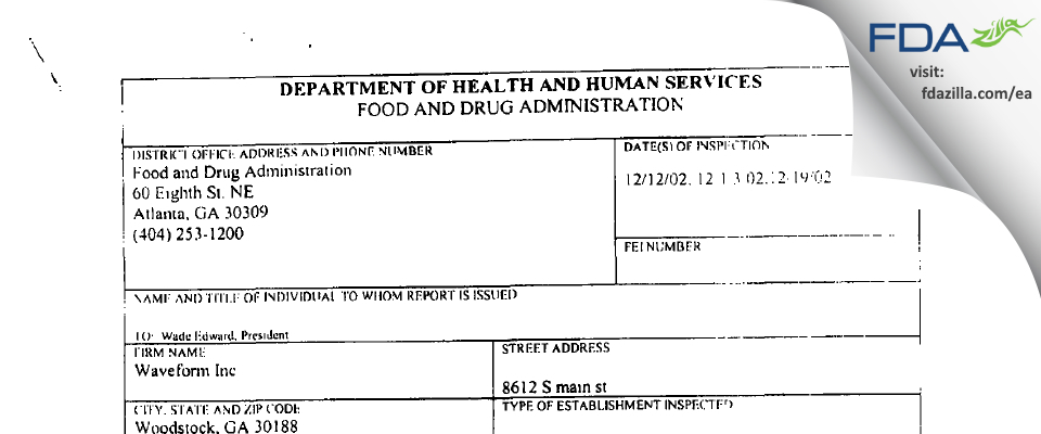 Waveform FDA inspection 483 Dec 2002