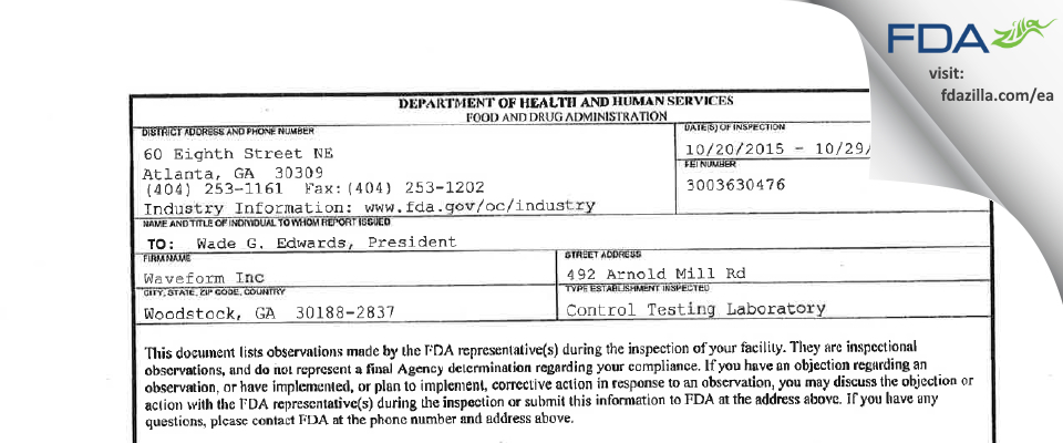 Waveform FDA inspection 483 Oct 2015