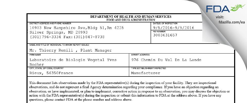 Laboratoire de Biologie Vegetal Yves Rocher FDA inspection 483 Sep 2016
