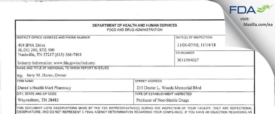 Duren Health Mart Pharmacy FDA inspection 483 Nov 2018