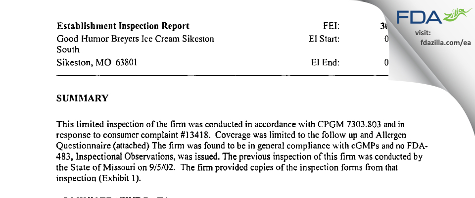 Unilever FDA inspection 483 Sep 2002