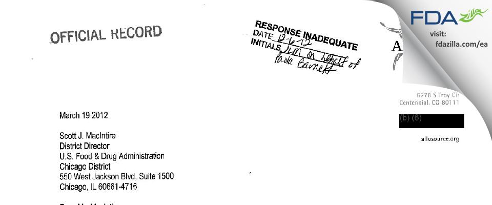 AlloSource FDA inspection 483 Mar 2012