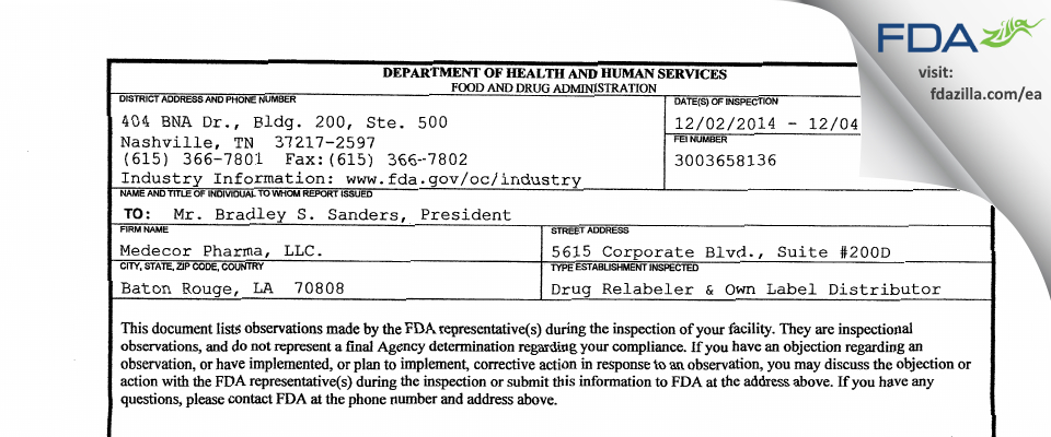 Medecor Pharma FDA inspection 483 Dec 2014