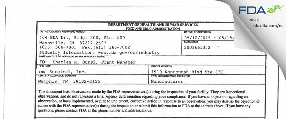 rms Surgical FDA inspection 483 May 2015