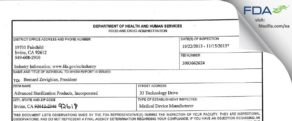 Advanced Sterilization Products FDA inspection 483 Nov 2013