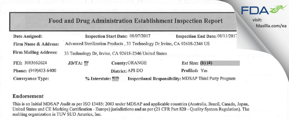 Advanced Sterilization Products FDA inspection 483 Aug 2017