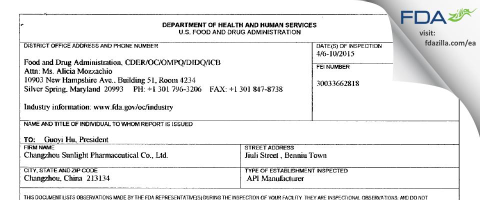Changzhou Sunlight Pharmaceutical FDA inspection 483 Apr 2015