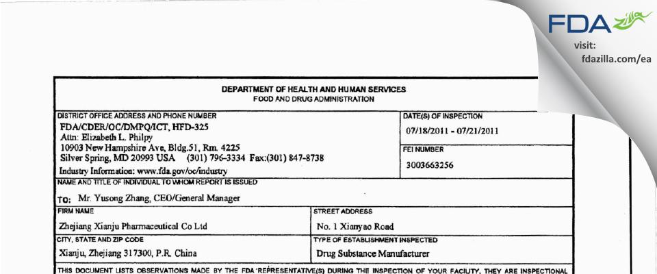 Zhejiang Xianju Pharmaceutical FDA inspection 483 Jul 2011