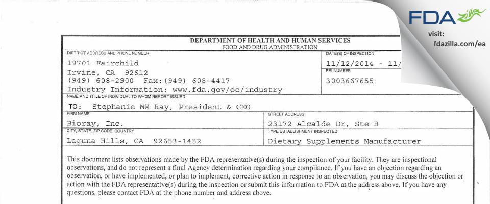 BioRay FDA inspection 483 Nov 2014