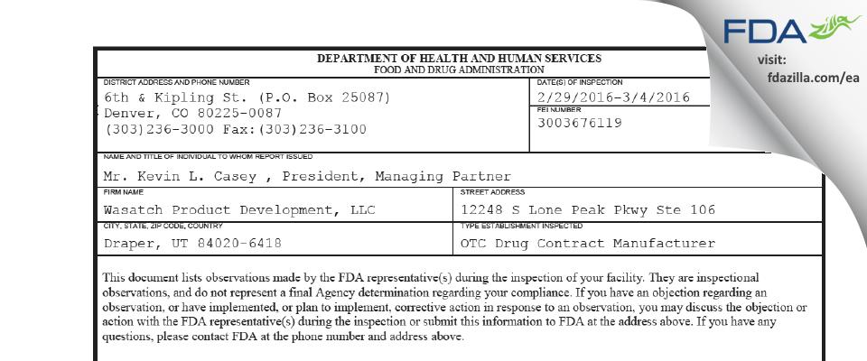 Wasatch Product Development FDA inspection 483 Mar 2016