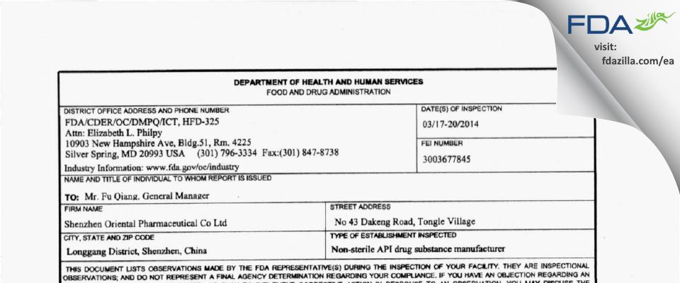 Shenzhen Oriental Pharmaceutical FDA inspection 483 Mar 2014