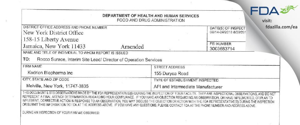 Kedrion Biopharma FDA inspection 483 Aug 2018