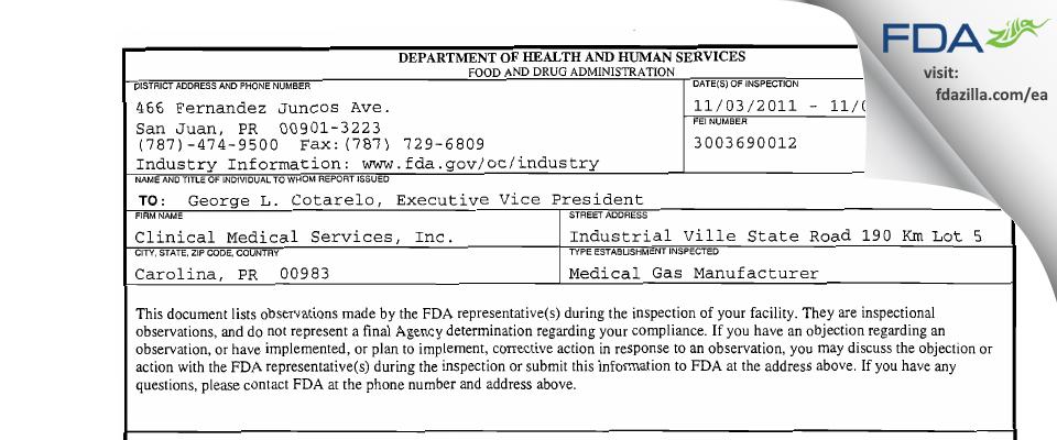 Clinical Medical Services FDA inspection 483 Nov 2011